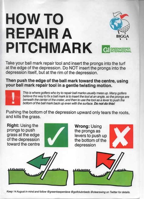 City Of Newcastle Golf Club  How To Repair A Pitch Mark
