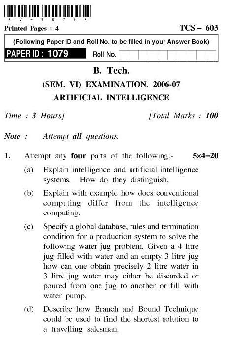 UPTU: B.Tech Question Papers – TCS-603-Artificial