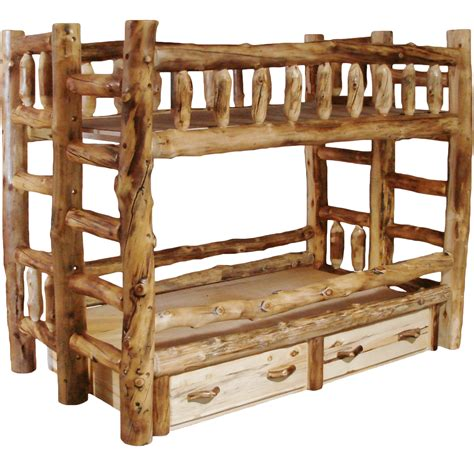 Aspen Log Bunk Bed  Rustic Log Furniture Of Utah