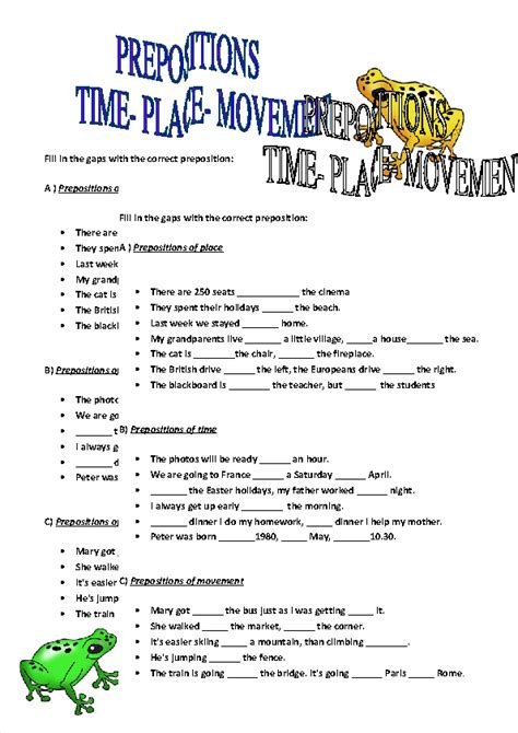 Prepositions Of Time, Place And Movement Worksheet