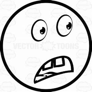 Shocked Large Eyed Black And White Smiley Face Emoticon ...