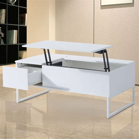 """We also aim at dialogue with our customers. HomCom 43"""" Modern Lift Top Coffee Table Desk With Hidden Storage And Drawer - Matte White ..."""