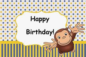 CURIOUS GEORGE Birthday Party Card Set Instant Download