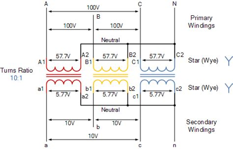 Wye Vt Wiring Diagram by Three Phase Transformer Connections And Basics