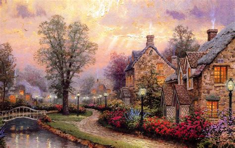 kinkade cottage painting wallpaper set 14 kinkade paintings 3