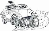 Cartoon Coloring Race Muscle Sketch Drag Rod Cars Monster Rat Rods Drawing Drawings Racing Cool Adult Colouring Fink Gasser Sketches sketch template