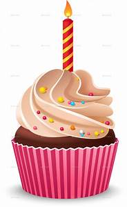 Birthday Cupcake with Burning Candle by Mia_V | GraphicRiver