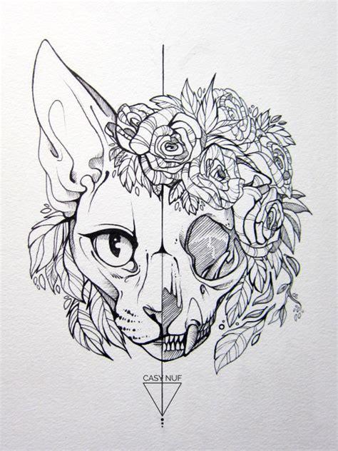 cat skull tattoo design tumblr