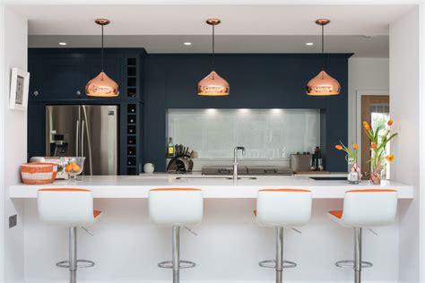 kitchen  navy white  grey  orange  copper