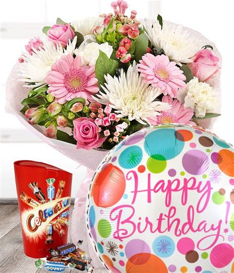 birthday flowers gift set including balloon  chocolates