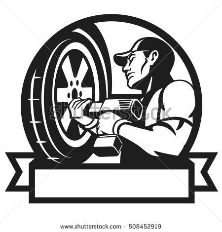 mechanic clipart black and white auto mechanic changing tyre on car stock vector 508452919