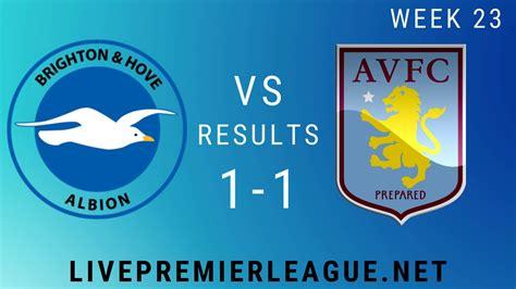 Brighton and Hove Albion Vs Aston Villa   Week 23 Result 2020