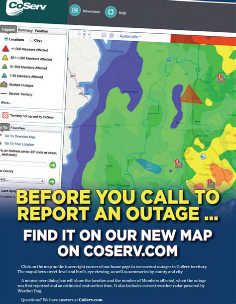 coserv includes outage map  website update kubra