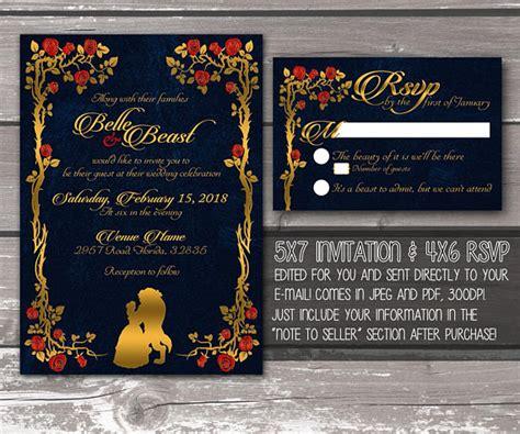 beauty   beast printable wedding invitation