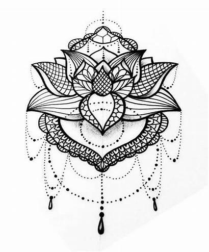 Mandala Lotus Tattoo Flower Coloring Pages Drawing
