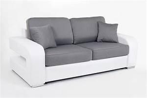 Canapé 140 Cm : canape convertible couchage 140 cm alban wilma blanc jeans 107 ~ Teatrodelosmanantiales.com Idées de Décoration
