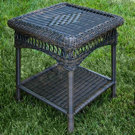 tortuga outdoor portside wicker side table wickercentral