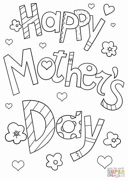 Mothers Coloring Happy Pages Doodle Mother Printable