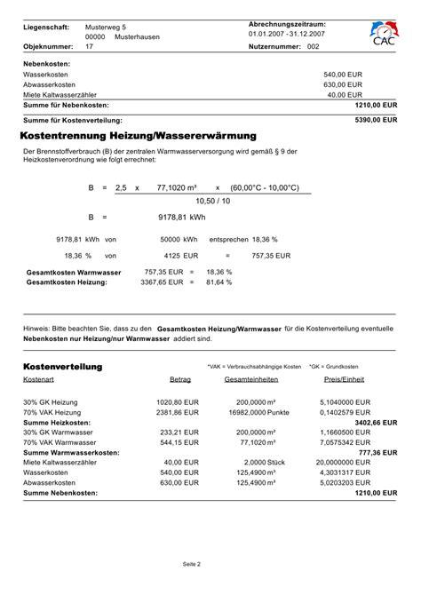 Nebenkostenabrechnung Warmwasser Berechnung by Cac Compact Abrechnung Center F 252 R Wasser W 228 Rme Und