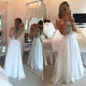 Lace White Prom Dress, White Backless Prom Dress, Backless ...