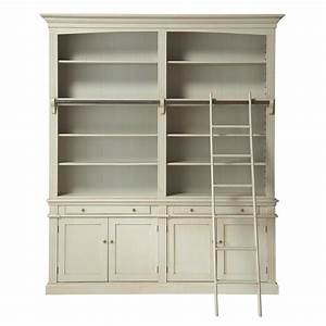 bibliotheque avec echelle en bois grise l 200 cm amandine With bibliotheque meuble maison du monde