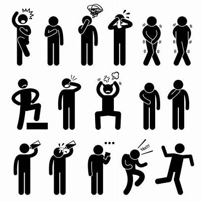 Stick Figure Human Action Poses Vector Pictogram