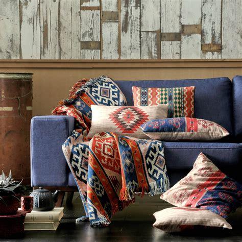 plaid jeté de canapé plaid ou jeté de canapé polycoton jacquard motif navajo