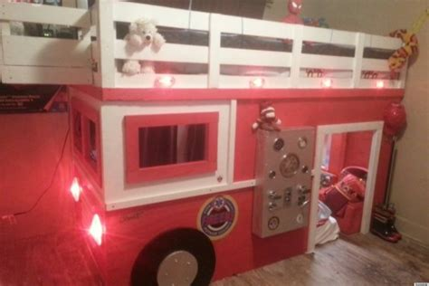 firefighter dad builds realistic diy firetruck bed   son  huffpost