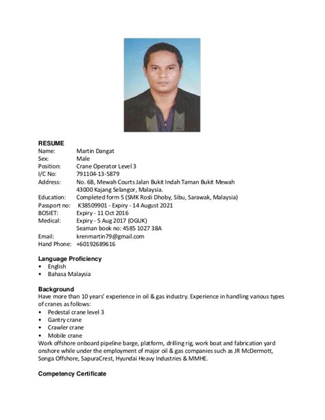 Resume Format 2014 Malaysia by Resume Martin 2016