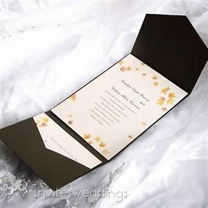 autumn maple leaves brown pocket wedding invitations With wedding invitations in pockets
