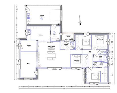 plan maison 4 chambre plain pied plan maison plain pied 4 chambres maison moderne