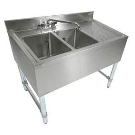 bar sinks with drainboards boos eub2s48 1 d 48 quot w 2 compartment bar sink