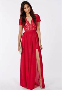 ralona red lace maxi dress with double split dresses
