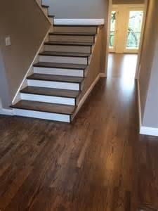 refinished hardwood stairs and floor dustless refinishing of wood floors colors