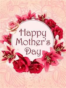 Flower Wreath Happy Mother's Day Card   Birthday ...