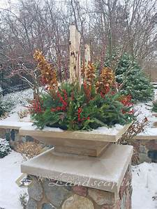 Christmas, Planter, Pot, With, Birch, Sticks, Dogwood, Branches, Christmas, Greens, And, Red, Berries, For