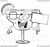Margarita Holding Clipart Cartoon Happy Vector Mascot Sign Royalty Cory Thoman Template sketch template