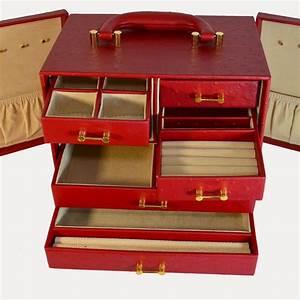 Coffret A Bijoux : coffret bijoux en cuir d 39 autruche rouge multi rangement boutique de mode vintage friperie ~ Teatrodelosmanantiales.com Idées de Décoration