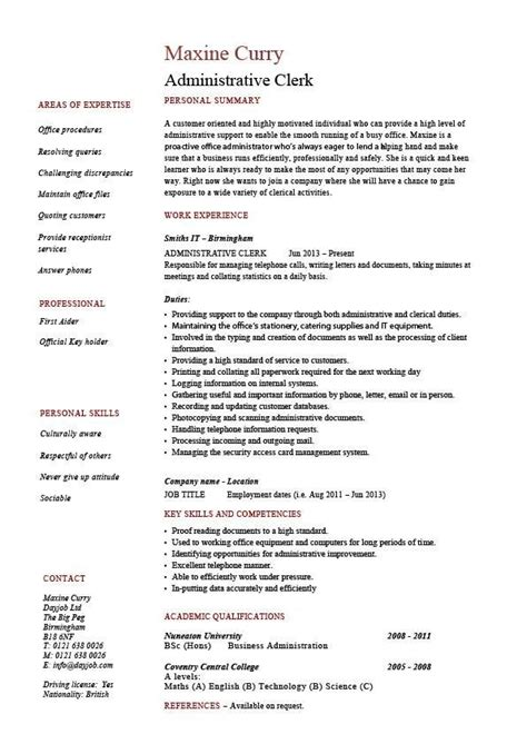 Clerical Position Resume by Administrative Clerk Resume Clerical Sle Template