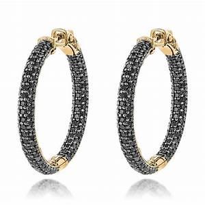 14K Black Diamond Hoop Earrings 5.91ct