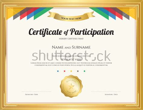certificate of participation template participation certificate templates free premium creative template