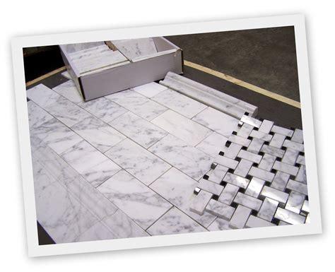 carrara bianco honed subway tile and polished basketweave