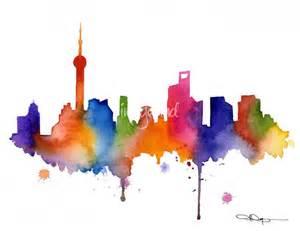 Stunning Quot Shanghai Skyline Painting Quot Artwork For Sale On Fine Art Prints