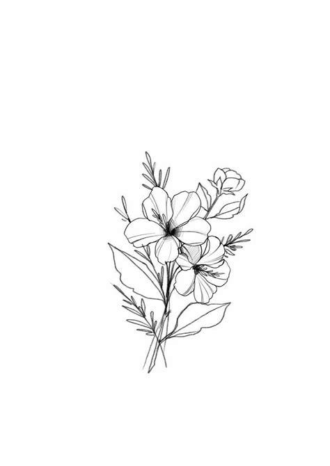 Illustrated flower bouquet | Desenhos de tatuagem de flor