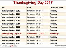 November 2017 Calendar Thanksgiving Canada – Printable