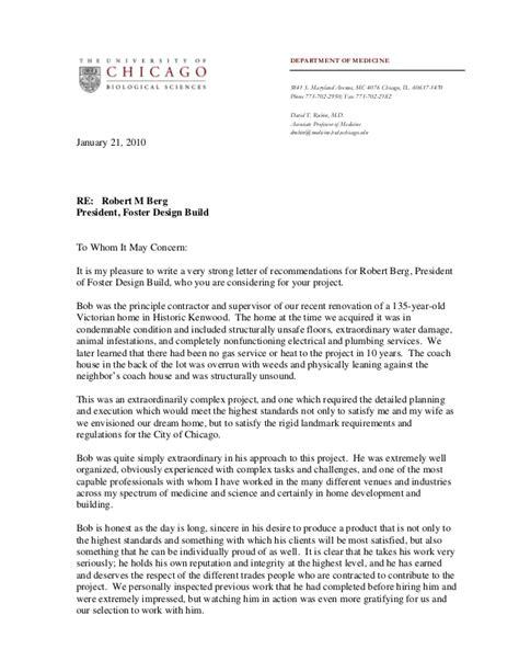 foster design build review  letter  recommendation