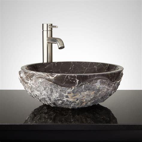 chiseled marble vessel sink dark emperador marble