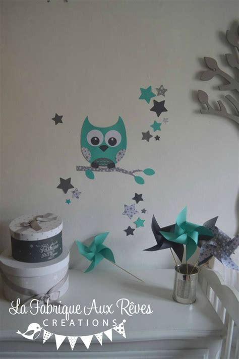 deco chambre turquoise stickers hibou chouette décoration chambre enfant fille