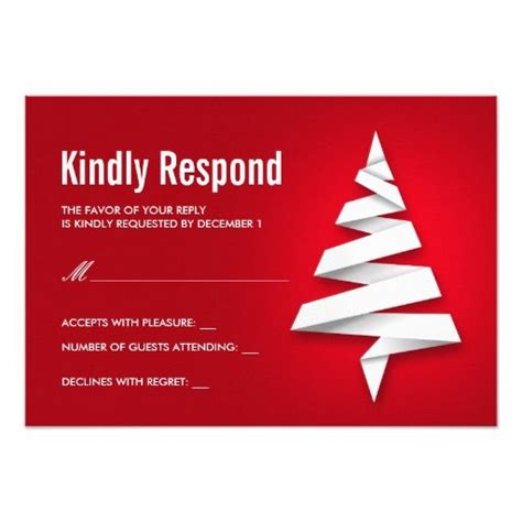 holiday party rsvp template with christmas tree 3 5x5