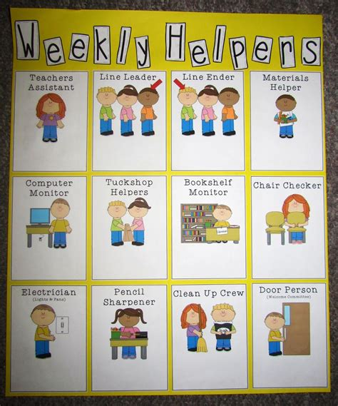preschool helper jobs 6 best images of preschool classroom chart printables 635